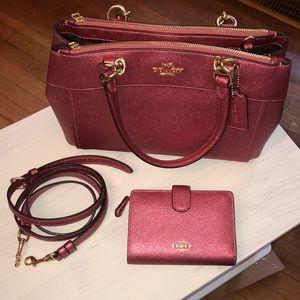 Beautiful pink coach handbag and matching wallet
